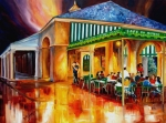Landscape Prints Painting Framed Prints - Midnight at the Cafe Du Monde Framed Print by Diane Millsap