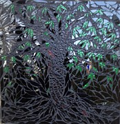 Tree Glass Art Prints - Midnight Banyan Print by Alison Edwards
