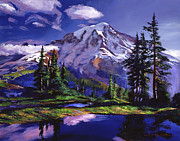 Pine Trees Painting Metal Prints - Midnight Blue Lake Metal Print by  David Lloyd Glover