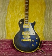 Stage Mixed Media Originals - Midnight Blues Guitar by Jules Grant-Field