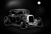 White Walls Framed Prints - Midnight Cruisers Black and White Framed Print by Steve McKinzie