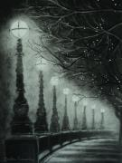 Fog Drawings - Midnight Dreary by Carla Carson