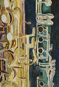 Saxophones Framed Prints - Midnight Duet Framed Print by Jenny Armitage