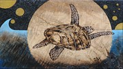 Hawaii Sea Turtle Pyrography - Midnight Fight by Bea Israel