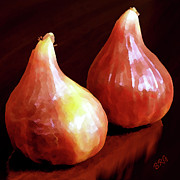 Pear Art Digital Art Posters - Midnight Figs Poster by Ben and Raisa Gertsberg