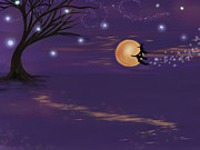 Samhain Digital Art - Midnight Flight by Roxy Riou