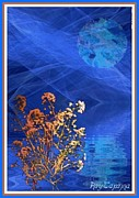 Water Flowing Mixed Media Posters - Midnight Flowers Poster by Ray Tapajna
