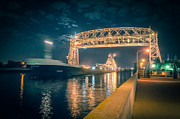 Lake Freighter Art - Midnight Freighter Through Duluth by Shutter Happens Photography
