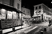 Town Square Framed Prints - Midnight in Montmartre Paris Framed Print by Pierre Leclerc