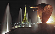 Daniel Furon Metal Prints - Midnight in Paris Trocadero Metal Print by Daniel Furon