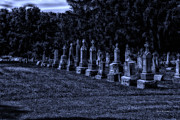 Headstones Digital Art Prints - Midnight In The Garden Of Stones Print by Thomas Woolworth