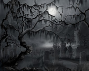 Ghastly Framed Prints - Midnight in the Graveyard  Framed Print by James Christopher Hill