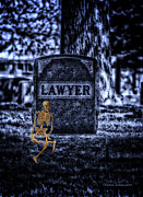 Surrealism Tapestries Textiles - MidNight In The Graveyard With A Lawyer by Thomas Woolworth