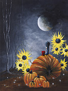Eerie Painting Metal Prints - Midnight In The Pumpkin Patch by Shawna Erback Metal Print by Shawna Erback