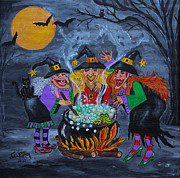 Cauldron Paintings - Midnight Magic by Julie Brugh Riffey
