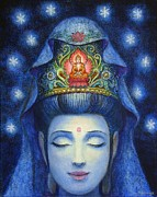 Buddhism Metal Prints - Midnight Meditation Kuan Yin Metal Print by Sue Halstenberg
