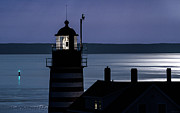 Marty Posters - Midnight Moonlight on West Quoddy Head Lighthouse Poster by Marty Saccone