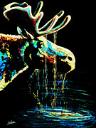 Abstract Wildlife Painting Prints - Midnight Moose Drool  Print by Teshia Art