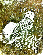 Linoleum Painting Prints - Midnight Owl Print by Shabnam Nassir