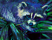 Midnight Digital Art Posters - Midnight Racoon Poster by Jane Schnetlage