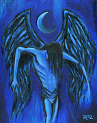 Night Angel Framed Prints - Midnight Framed Print by Roz Barron Abellera