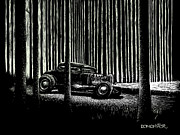 Old Car Drawings Prints - Midnight Run Print by Bomonster