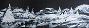 Snowy Trees Paintings - Midnight Snow by Julie Brugh Riffey