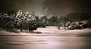 Snow Scene Digital Art Framed Prints - Midnight Stillness Framed Print by Julie Palencia