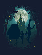 Castle Illustration Posters - Midnight Stroll Poster by Christopher Ables