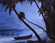 Night Scenes Painting Originals - Midnight Stroll in Paradise by Alan Lakin