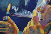 Smoking Paintings - Midnight Toker by Anita Toke