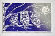 Linocut Prints - Midnight Watchmen Print by Kimberly Wix