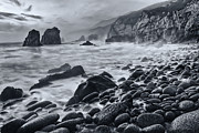 Jamie Pham - Midnight waves - Soberanes Point in Garrapata State Park in California Black and White.