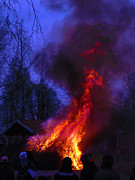 Midsummer Photo Prints - Midsummer Fire Print by Dagmar Ceki
