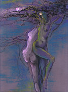 Violet Art Pastels Prints - Midsummer Night Print by Lucy Morar