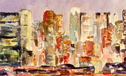 New York City Skyline Painting Framed Prints - Midtown Manhattan Skyline at Dusk Watercolor Painting of NYC Framed Print by Beverly Brown Prints