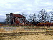 Red Barn In Winter Photos - Midwest Barn on a cloudy day by Joanne Beebe
