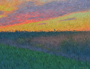 Prairie Skies Art Prints - Midwest Sunset Print by Pamela Briggs-Luther