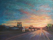Sunset Greeting Cards Painting Posters - Midwest Sunset Poster by Valerie Greene