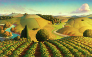 Folk Realism Paintings - Midwest Vineyard by Robin Moline