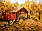 Covered Bridge Painting Metal Prints - Midwestern Covered Bridge Metal Print by Richard Nervig