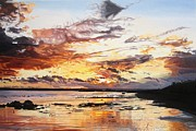 Amazing Sunset Painting Framed Prints - Midwinter Sunset Over Garryvoe Beach Framed Print by Niall McCarthy