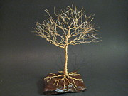 Wire Tree Sculpture Prints - Mighty Golden Oak Wire Tree Sculpture Print by Ken Phillips