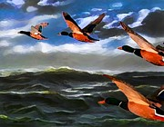 Ducks Digital Art Prints - Migration of Wild Ducks on Digital Art Print by Mario  Perez