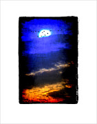 Geese And Moon Prints - Migration Print by Roger Winkler