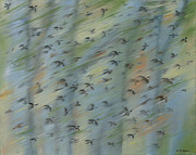 Flocks Of Birds Prints - Migratory Geese Moon April Print by Ethel Vrana
