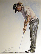 Pga European Tour Prints - Miguel Angel Jimenez Watercolour Print by Mark Robinson