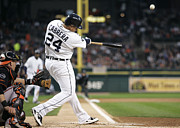 Baseball Bat Photo Prints - Miguel Cabrera hits the ball Print by Sanely Great