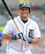 Baseball Bat Photo Framed Prints - Miguel Cabrera Poster Framed Print by Sanely Great