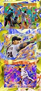 Baseball Paintings - Miguel Cabrera Vertical Collage 1 by Donald Pavlica